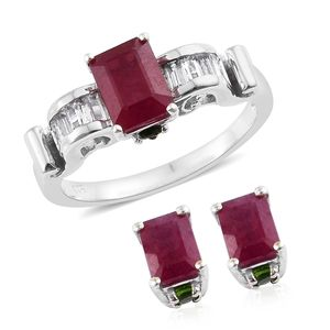 Niassa Ruby, Multi Gemstone Platinum Over Sterling Silver Earrings and Ring (Size 7) TGW 6.35 cts.