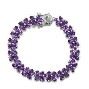 TLV Amethyst Platinum Over Sterling Silver Bracelet (6.50 In) TGW 14.20 cts.