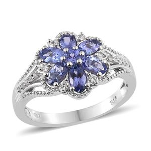Premium AAA Tanzanite, Cambodian Zircon Platinum Over Sterling Silver Ring (Size 5.0) TGW 1.81 cts.