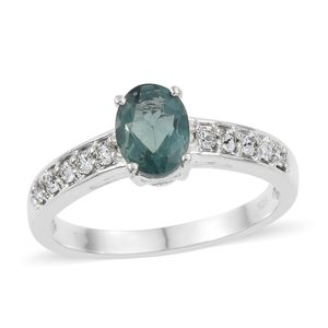 Teal Fluorite Sterling Silver Ring (Size 7.0) Made with SWAROVSKI White Crystal TGW 1.70 cts.