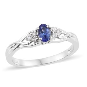 Premium AAA Tanzanite, Cambodian Zircon Platinum Over Sterling Silver Ring (Size 5.0) TGW 0.68 cts.