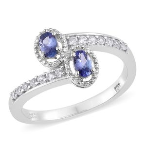 Premium AAA Tanzanite, Cambodian Zircon Platinum Over Sterling Silver Bypass Ring (Size 7.0) TGW 0.75 cts.