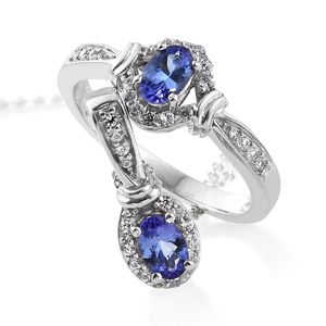 Premium AAA Tanzanite, Cambodian Zircon Platinum Over Sterling Silver Ring (Size 5) and Pendant With Chain (20 in) TGW 1.38 cts.