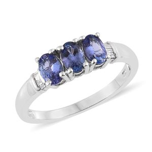 Premium AAA Tanzanite, Diamond Platinum Over Sterling Silver Ring (Size 5.0) TDiaWt 0.05 cts, TGW 1.40 cts.