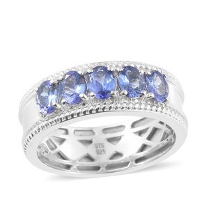 Premium AAA Tanzanite Platinum Over Sterling Silver 5 Stone Ring (Size 9.0) TGW 1.85 cts.