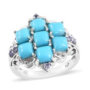Arizona Sleeping Beauty Turquoise, Tanzanite Platinum Over Sterling Silver Ring (Size 7.0) TGW 3.78 cts.