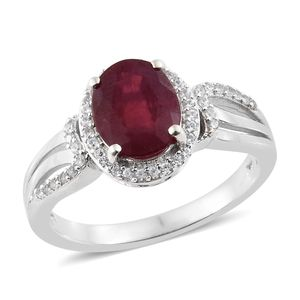 Niassa Ruby, Cambodian Zircon Platinum Over Sterling Silver Ring (Size 7.0) TGW 4.22 cts.