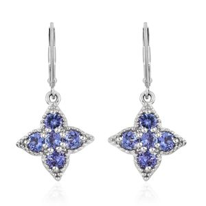 Premium AAA Tanzanite Platinum Over Sterling Silver Lever Back Earrings TGW 1.25 cts.