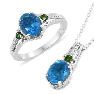 Caribbean Quartz, Russian Diopside Platinum Over Sterling Silver Ring (Size 8) and Pendant With Chain (20 in) TGW 4.27 cts.
