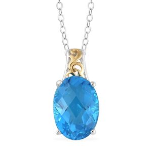 Caribbean Quartz Vermeil YG and Platinum Over Sterling Silver Pendant With Chain (20 in) TGW 6.18 cts.