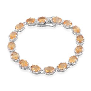 Brazilian Citrine Sterling Silver Tennis Bracelet (8.00 In) TGW 8.00 cts.
