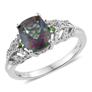 Northern Lights Mystic Topaz, Multi Gemstone Platinum Over Sterling Silver Ring (Size 5.0) TGW 3.84 cts.