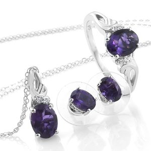Customer Appreciation Day Lusaka Amethyst, Cambodian Zircon Platinum Over Sterling Silver Earrings, Ring (Size 10) and Pendant With Chain (20 in) TGW 4.67 cts.