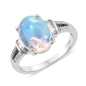 Ethiopian Welo Opal, Diamond Platinum Over Sterling Silver Ring (Size 11.0) TDiaWt 0.18 cts, TGW 3.58 cts.