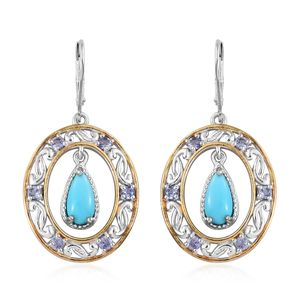 Arizona Sleeping Beauty Turquoise, Tanzanite 14K YG and Platinum Over Sterling Silver Earrings TGW 2.90 cts.