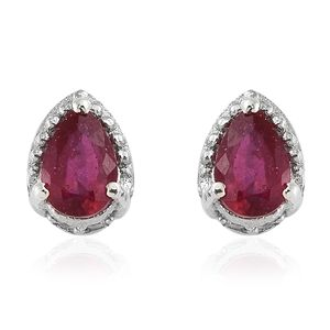 Niassa Ruby, Cambodian Zircon Platinum Over Sterling Silver Stud Earrings TGW 1.52 cts.