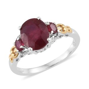 Niassa Ruby 14K YG and Platinum Over Sterling Silver Ring (Size 10.0) TGW 5.40 cts.