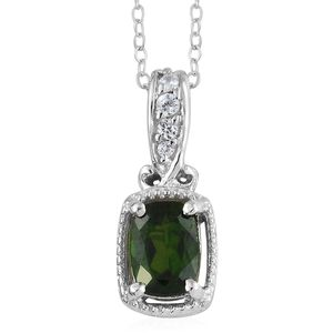 Russian Diopside, Cambodian Zircon Platinum Over Sterling Silver Pendant With Chain (20 in) TGW 0.76 cts.
