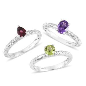 Moroccan Amethyst, Multi Gemstone Platinum Over Sterling Silver Set of 3 Ring (Size 7.0) TGW 3.05 cts.