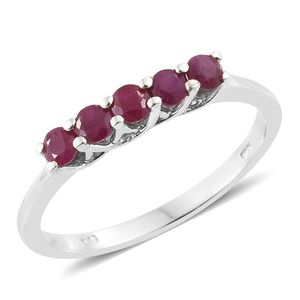 Burmese Ruby Platinum Over Sterling Silver 5 Stone Ring (Size 9.0) TGW 0.75 cts.