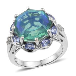 Peacock Quartz, Multi Gemstone Platinum Over Sterling Silver Ring (Size 7.0) TGW 12.30 cts.