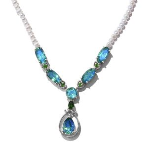 Peacock Quartz, Russian Diopside Platinum Over Sterling Silver Necklace (18 in) TGW 16.18 cts.