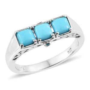 Arizona Sleeping Beauty Turquoise, Malgache Neon Apatite Platinum Over Sterling Silver Trilogy Ring (Size 8.0) TGW 1.60 cts.