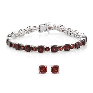 July 4th DOORBUSTER Mozambique Garnet Platinum Over Sterling Silver Stud Earrings and Bracelet (8.00 In) TGW 33.77 cts.