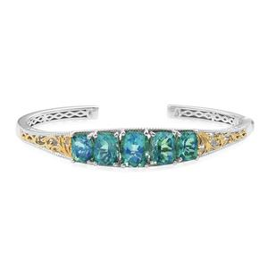 Peacock Quartz 14K YG and Platinum Over Sterling Silver Cuff (7.25 in) TGW 15.93 cts.