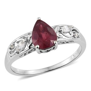 Niassa Ruby, White Topaz Platinum Over Sterling Silver Ring (Size 10.0) TGW 2.23 cts.