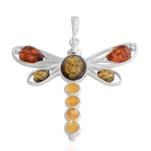 Multi Color Amber Sterling Silver Dragonfly Pendant without Chain