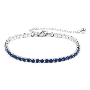 Simulated Blue Sapphire Stainless Steel Tennis Bracelet (7.00 In) Total Gem Stone Weight 1.20 Carat
