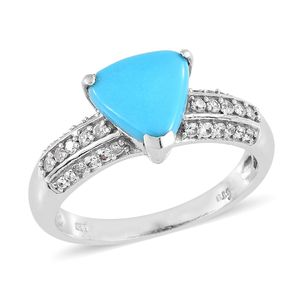 Arizona Sleeping Beauty Turquoise, Cambodian Zircon Platinum Over Sterling Silver Ring (Size 10.0) TGW 2.52 cts.