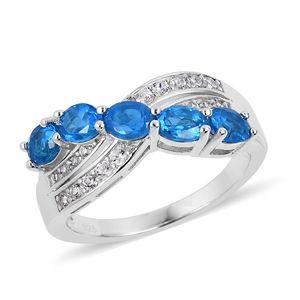 Malgache Neon Apatite, Natural White Zircon Sterling Silver Ring (Size 7.0) TGW 2.30 cts.