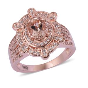 Marropino Morganite, White Zircon Vermeil RG Over Sterling Silver Ring (Size 8.0) TGW 2.10 cts.