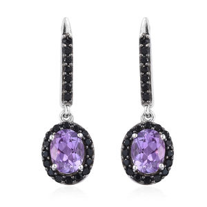 Rose De Maroc Amethyst, Thai Black Spinel Platinum Over Sterling Silver Drop Earrings TGW 3.32 cts.