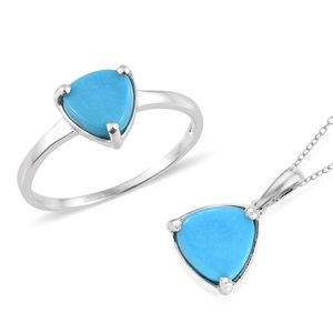 Arizona Sleeping Beauty Turquoise Platinum Over Sterling Silver Ring (Size 8) and Pendant With Chain (20 in) TGW 2.90 cts.