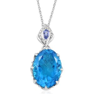 Caribbean Quartz, Multi Gemstone Platinum Over Sterling Silver Pendant With Chain (20 in) TGW 13.60 cts.