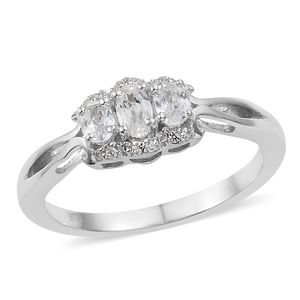 Natural White Zircon Platinum Over Sterling Silver Ring (Size 8.0) TGW 1.21 cts.