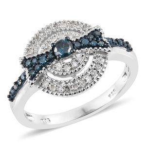 Blue Diamond (IR), Diamond Blue Rhodium & Platinum Over Sterling Silver Bow Ring (Size 8.0) TDiaWt 0.50 cts, TGW 0.50 cts.