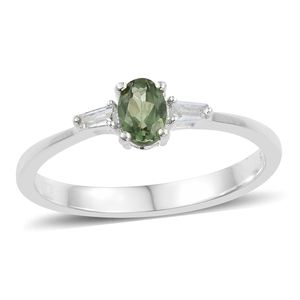 Natural Green Apatite, White Topaz Sterling Silver Ring (Size 7.0) TGW 0.57 cts.