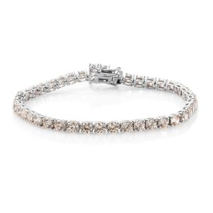 Deepak's Dazzling Deals J Francis - Platinum Over Sterling Silver Bracelet (7.25 In) Made with Champagne SWAROVSKI ZIRCONIA TGW 17.75 cts.