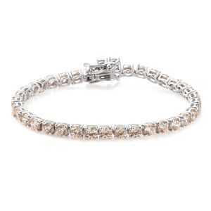 Deepak's Dazzling Deals J Francis - Platinum Over Sterling Silver Bracelet (6.50 In) Made with Champagne SWAROVSKI ZIRCONIA TGW 15.90 cts.