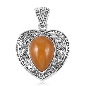 Bali Legacy Collection Burmese Yellow Jade Sterling Silver Heart Pendant without Chain TGW 10.48 cts.