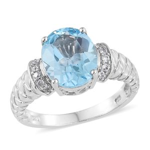 Sky Blue Topaz, Cambodian Zircon Platinum Over Sterling Silver Ring (Size 10.0) TGW 5.47 cts.