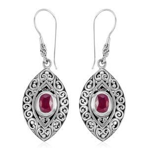 Bali Legacy Collection Ruby Sterling Silver Earrings TGW 3.56 cts.