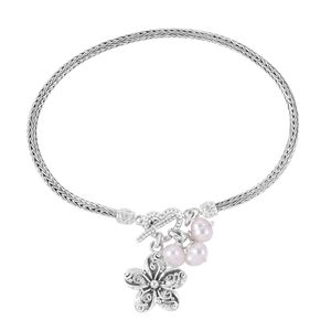 Bali Legacy Collection Freshwater Pearl Sterling Silver Bracelet with Flower Charm (7.00 In)