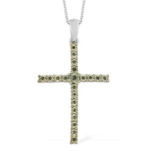 Green Diamond (IR) Green Rhodium & Platinum Over Sterling Silver Cross Pendant With Chain (20 in) TDiaWt 0.10 cts, TGW 0.10 cts.