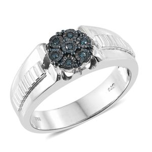 Blue Diamond (IR) Blue Rhodium & Platinum Over Sterling Silver Men's Ring (Size 12.0) TDiaWt 0.10 cts, TGW 0.10 cts.