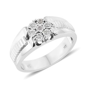 Diamond Platinum Over Sterling Silver Men's Ring (Size 12.0) TDiaWt 0.10 cts, TGW 0.10 cts.